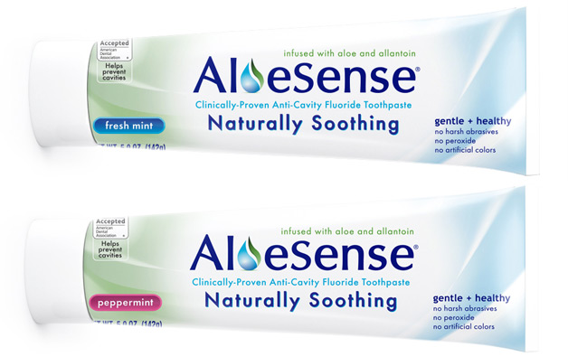 AloeSense toothpaste box full view